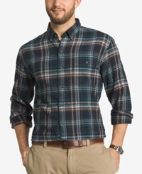 G.H. Bass And Co. Men's Big And Tall Plaid Flannel Long Sleeve Shirt Blue Salute
