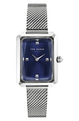Ted Baker London Cara Mesh Strap Watch 22Mm Silver Blue Silver