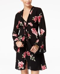 American Rag Juniors' Printed Neck Tie Button Front Dress Created For Macy's Black Combo