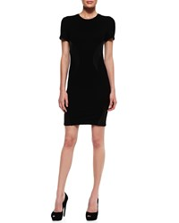 Mcq By Alexander Mcqueen Leather Swirl Inset Short Sleeve Dress Women's