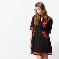 River Island Womens Black And Red Embroidered Smock Dress