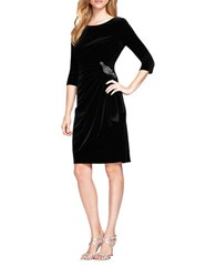 Alex Evenings Velvet Beaded Side Ruched Dress Black