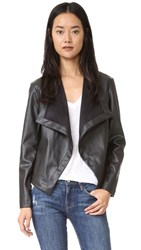 Bb Dakota Peppin Vegan Leather Drapey Jacket Black