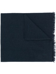 Kiton Fringed Edge Scarf Blue