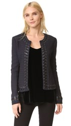 L'agence Devereaux Leather Whipstitch Tweed Jacket Navy