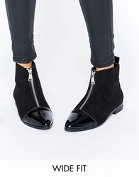 Asos Albie Wide Fit Pointed Ankle Boots Black