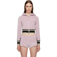 Palm Angels Purple And White Chenille Hooded Track Jacket
