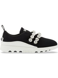 Miu Miu Crystal Embellished Sneakers Black