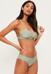 Missguided Green Scallop Triangle Bikini Top Mix And Match