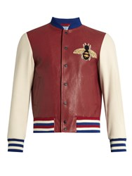 Gucci Contrast Sleeve Leather Bomber Jacket Red Multi