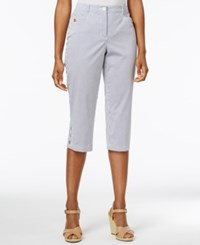 Karen Scott Petite Striped Capri Pants Only At Macy's Blue Chambray Combo
