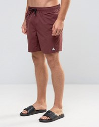 Asos Swim Shorts In Burgundy With Triangle Logo Print Mid Length Burgundy Red