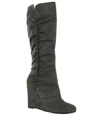 Mia Renee Faux Suede Wedge Boots Grey