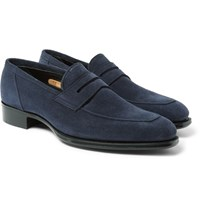 Kingsman George Cleverley Newport Suede Penny Loafers Navy