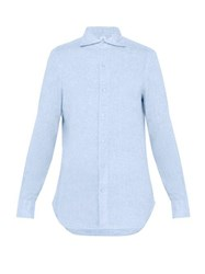 Finamore 1925 Gaeta Spread Collar Linen Shirt Blue