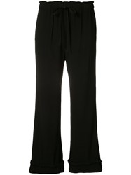 Raquel Allegra Drawstring Cropped Trousers Women Rayon 1 Black