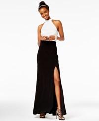 B. Darlin B Juniors' Colorblocked Halter Gown A Macy's Exclusive Style White Black