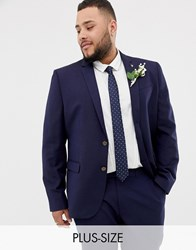 Farah Plus Skinny Wedding Suit Jacket In Linen Navy