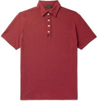 Incotex Slim Fit Cotton Pique Polo Shirt Red