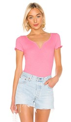 Wildfox Couture Madison Bodysuit In Pink. Bubble Gum