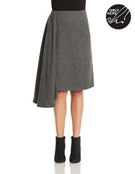424 Fifth Asymmetrical Skirt With Gathered Side Charcoal Heather