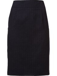 Carolina Herrera Pinstripe Pencil Skirt Blue