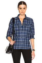 A.P.C. Girl Flannel Shirt In Blue Checkered And Plaid