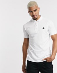 Replay Stretch Pique Tipped Polo In White