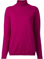 Jil Sander Classic Turtleneck Jumper Pink Purple
