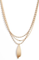 Halogen Curved Metal Layered Chain Pendant Necklace Gold