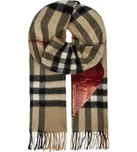 Burberry Sequin Heart Checked Cashmere Scarf Camel Red
