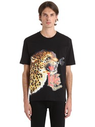 Love Moschino Leopard Patch Cotton Jersey T Shirt