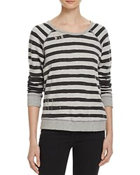 Sundry Distressed Stripe Pullover 100 Bloomingdale's Exclusive Heather Grey Black