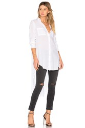 Enza Costa Side Slit Button Up White
