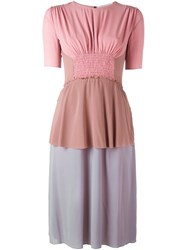 Agnona Colour Block Smocked Dress Pink Purple