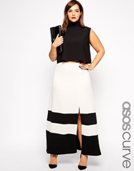 Asos Curve Exclusive Maxi Skirt With Split Front In Colour Block Creamblack