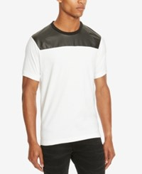Kenneth Cole Reaction Men's Mixed Media Faux Leather Trim T Shirt White