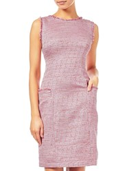 Adrianna Papell Onassis Tweed Trimmed Shift Dress Pink Multi