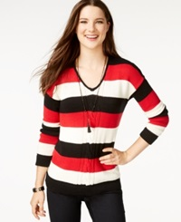 American Living Striped Long Sleeve Sweater Only At Macy's Black Rich Red Multi