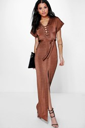 Boohoo Lace Up Belted Split Skirt Maxi Dress Chocolate