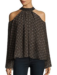 Romeo And Juliet Couture Printed Cold Shoulder Top Black