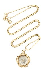 Sydney Evan Pave Flower Compass Necklace Yellow