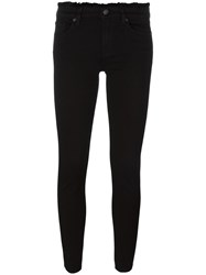 7 For All Mankind Cropped Frayed Trim Skinny Trousers Black