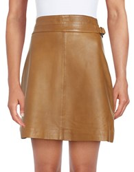 French Connection Leather Regular Fit Skirt Terra Tan