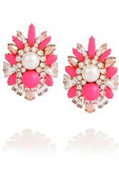 Shourouk Lady Embellished Gold Tone Earrings Pink