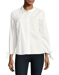 Vero Moda Tie Accented Button Front Top Snow White
