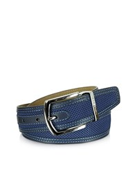 Moreschi St. Barth Navy Blue Perforated Nubuck And Leather Belt