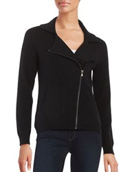 Lord And Taylor Motorcycle Cashmere Cardigan Black
