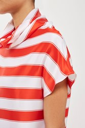 Topshop Silk Satin Stripe Top By Boutique Red