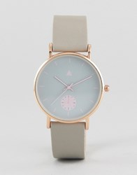 Asos Grey And Pink Detail Watch